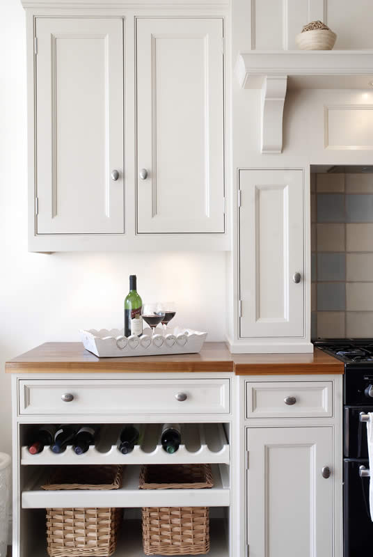 Wine Storage in Painted Kitchen