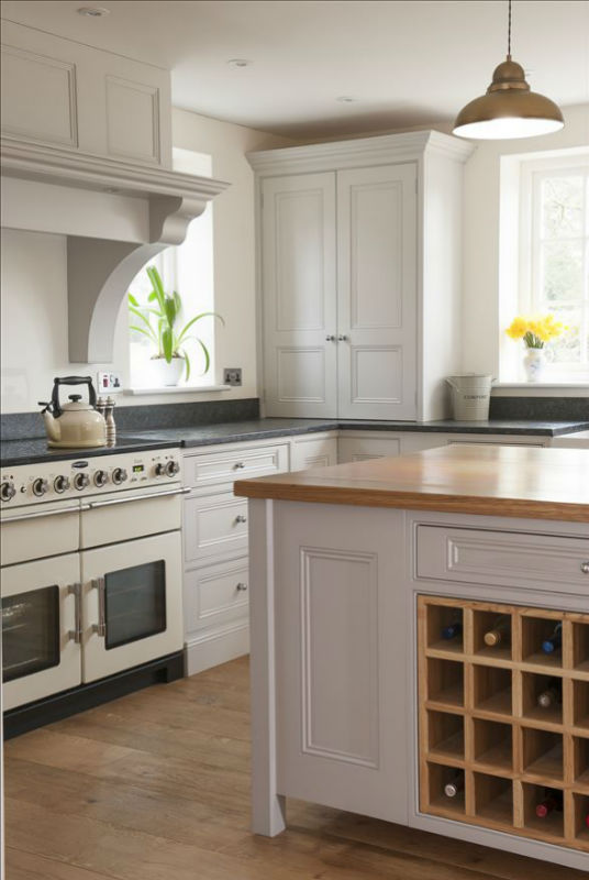 social and stylish hand painted kitchen